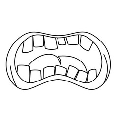 Open mouth with crooked teeth icon outline style vector