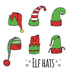set of cartoon elf hats vector image