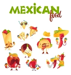 Set of happy Mexican food characters playing vector image