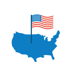 usa map and flag america banner and land area vector image vector image