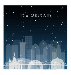 winter night in new orleans night city vector image