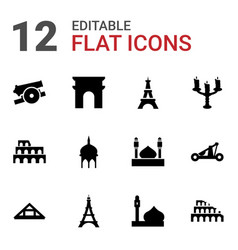12 historic icons vector