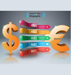 3d infographic design dollar euro icon vector
