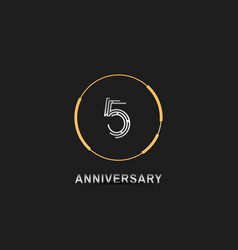 5 anniversary logotype with silver number vector