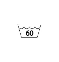60 degrees washing laundry symbol line icon black vector image