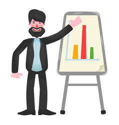 a bearded businessman in a suit stands near the vector image