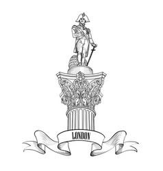 admiral nelson colunm trafalgar square london vector image