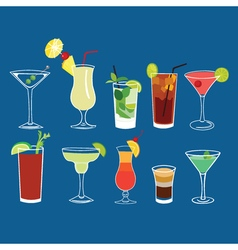 Alcohol cocktail drinks isolated set vector image