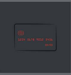 Bank card neumorphic design elements dark theme vector