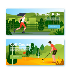 banners - rolling girl and golf playing man vector image