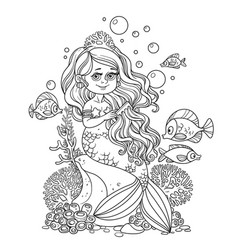 beautiful little mermaid girl sits on a rock and vector image