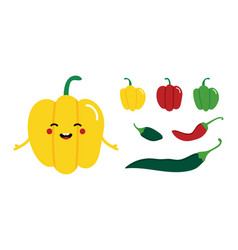 Bell pepper character with set chili peppers vector