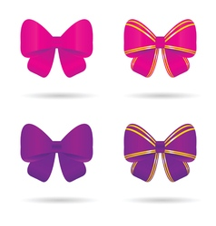 Bow in pink and violet vector