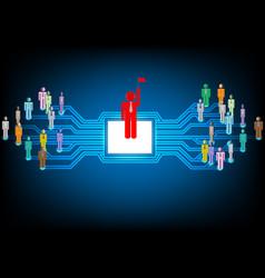 businessman in social network vector image