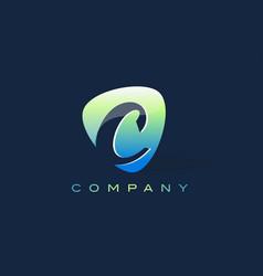 c letter logo oval shape modern design vector image
