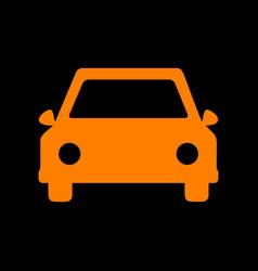 car sign orange icon on black vector image