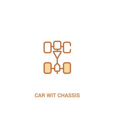 Car wit chassis concept 2 colored icon simple vector