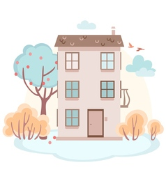 cartoon story house with trees in soft colors vector image
