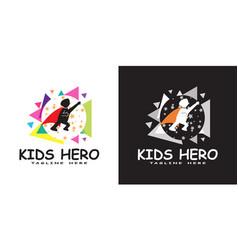 Child hero logo kids dream icon vector