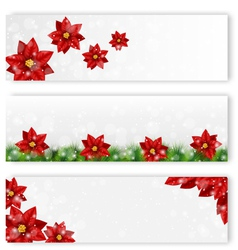 Christmas leaflets with poinsettia vector