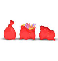 Christmas red sack with gifts and toys empty vector
