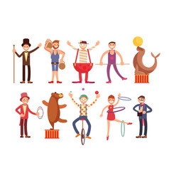 Circus artists cartoon characters set vector