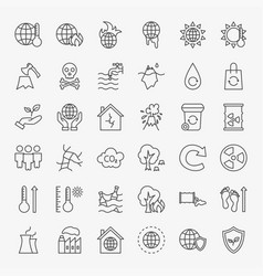 Climate change line icons set vector
