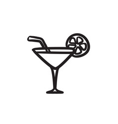 Cocktail glass sketch icon vector