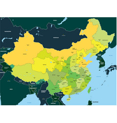 Color map of china vector