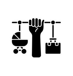 Combining motherhood and career black glyph icon vector