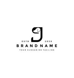 Creative design initials letter j dog vector
