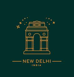 delhi gate line art new delhi vector image