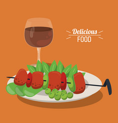 delicious food skewer with meat vegetables dish vector image
