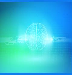 Digital brain on blue background artificial vector