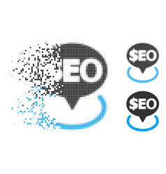 Disappearing dot halftone geotargeting seo icon vector