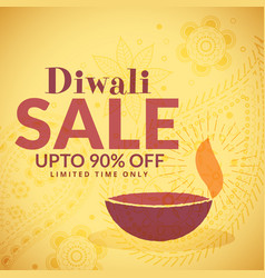 Diwali sale banner poster with diya vector