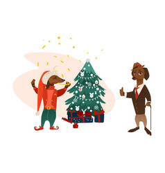 dogs characters near christmas tree vector image