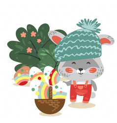 easter baby bunny in hat and overalls holding big vector image