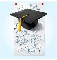 Education Sketch With Hat vector image