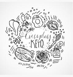 everyday keto menu sketch hand draw vector image