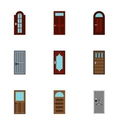Exterior doors icons set flat style vector