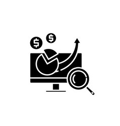 financial growth black icon sign on vector image
