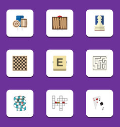 flat icon play set of labyrinth chess table vector image