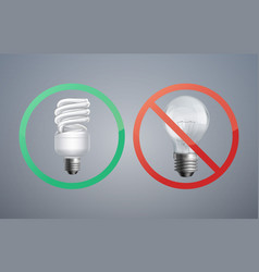 Fluorescence and incandescent bulbs vector
