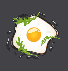 fried eggs with arugula isolated on grey vector image
