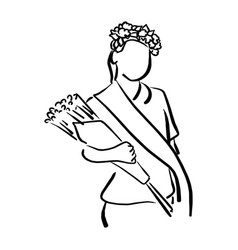 girl with flower crown and sash holding bouquet vector image