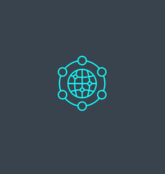 global network concept blue line icon simple thin vector image
