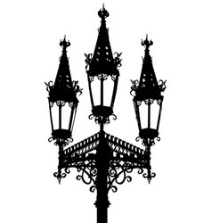 Gothic street lamp silhouette vector
