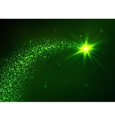 Green flying star with dust tail vector