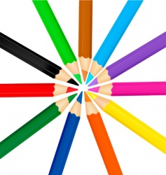 group with color pencils vector image